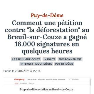 Nous venons tout juste de dépasser les 20 000 visites !   De plus, en cette journée symbolisé par ce chiffre si impressionnant, le journal La Montagne, m'a fait l'honneur de m'interviewé et d'en faire un article déjà dispo sur leur site internet 👇   https://www.lamontagne.fr/breuil-sur-couze-63340/actualites/comment-une-petition-contre-la-deforestation-au-breuil-sur-couze-a-gagne-18-000-signatures-en-quelques-heures_13907782/